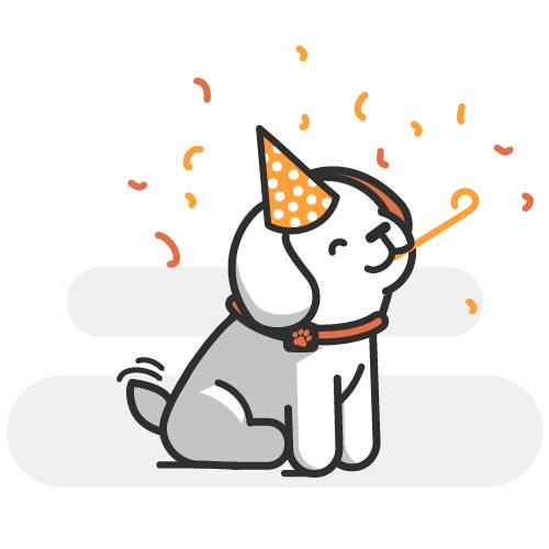 Cartoon dog at a party blowing a streamer and wearing a hat