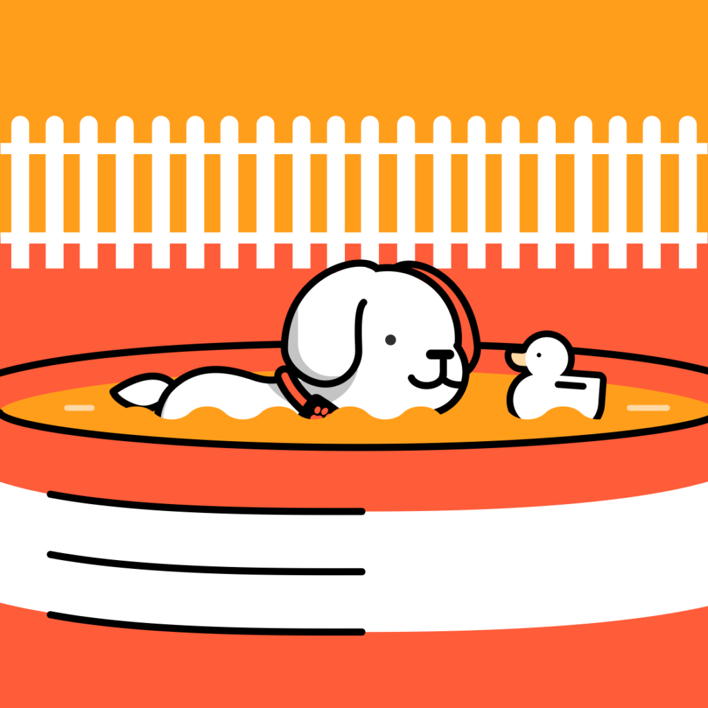 Cartoon dog swimming in paddling pool
