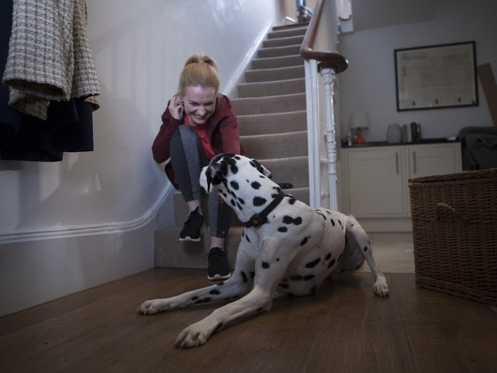 Woman with dalmatian on stairs